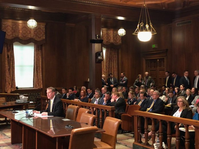 Sen. Ryan Aument, R-Lancaster, testified before the Senate Consumer Protection and Professional Licensure Committee.